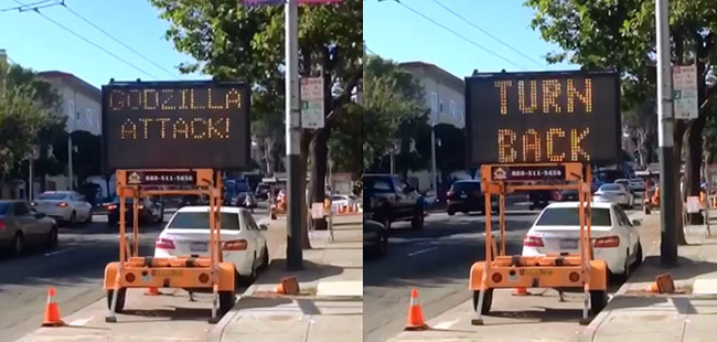 Hacked road sign alerts motorists of Godzilla Attack in San Francisco