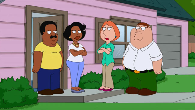 He's Bla-ack Cleveland Brown returns to Family Guy (Peter, Lois, Cleveland, Donna)