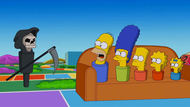 Homer Simpson losing at The Game of Life Couch Gag (Pay Pal)