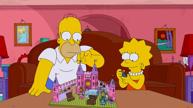 Simpsons LEGO special trailer - Brick Like Me (Homer and Lisa build castle)