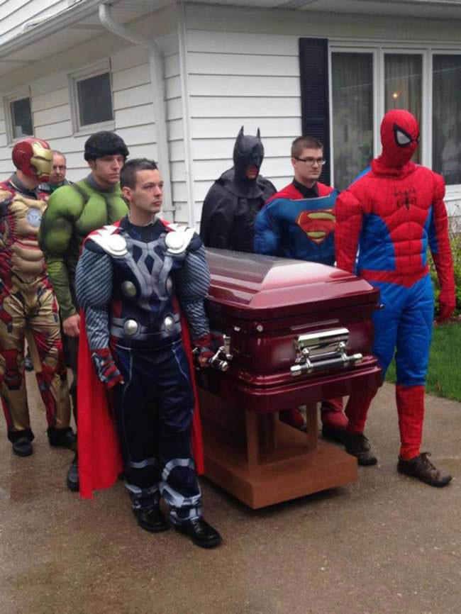 Spider-Man and his Amazing Friends give boy heroic send-off at funeral
