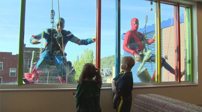 Spider-Man and his amazing friends volunteer at children's hospital