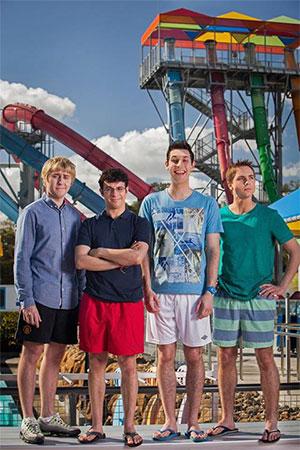 The Inbetweeners 2 water park - Will (Simon Bird), Simon (Joe Thomas), Neil (Blake Harrison) and Jay (James Buckley)