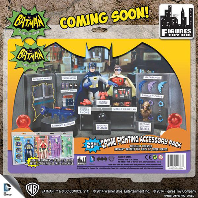 Batman Classic 1966 TV Series 25-Piece Action Figure Crime Fighting Accessory Pack BACK