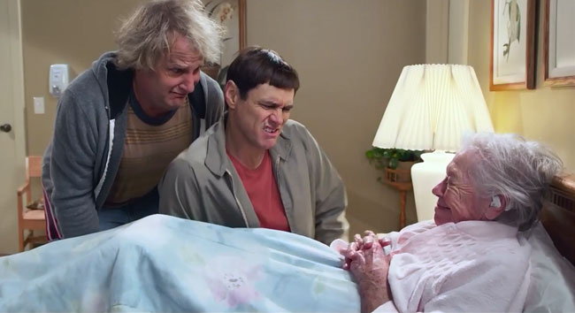 Dumb and Dumber To trailer debuts on Tonight Show (Dumb and Dumber To sex scene - Lloyd fingers old lady)