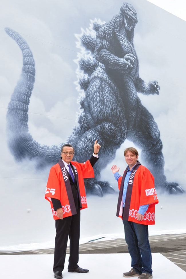 Toho Studios unveils life-size Godzilla mural by Masao Hanawa (Akira Takarada and Gareth Edwards)