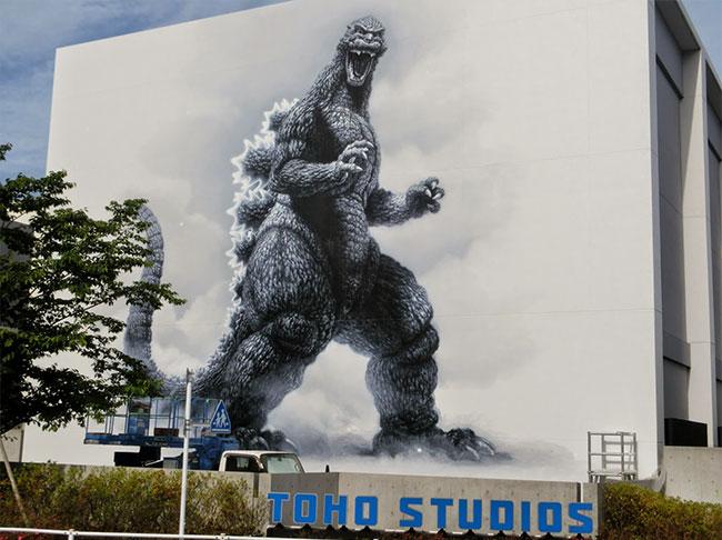 Toho Studios unveils life-size Godzilla mural by Masao Hanawa