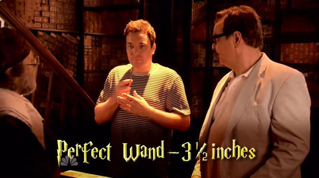 Tonight Show Jimmy Fallon has a small Harry wand (Steve Higgins)