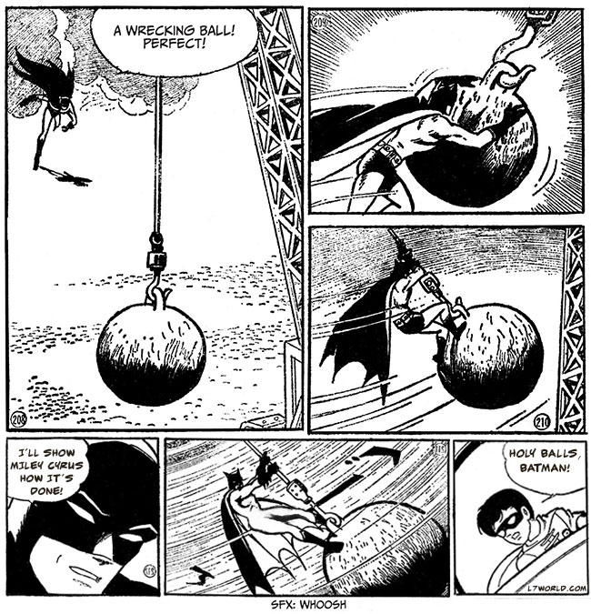 Batman The Jiro Kuwata Batmanga Cover (Lord Death Man) Batman Manga wrecking ball Miley Cyrus