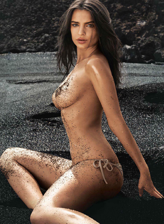 Blurred lines girl Emily Ratajkowski GQ July 2014 sitting in sand