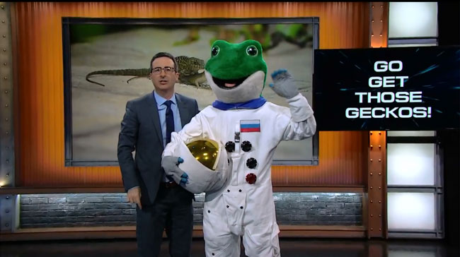 John Oliver calls on Russia to save space geckos