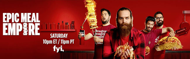 fyi Epic Meal Empire cast (Harley, Josh, Ameer, Dave)