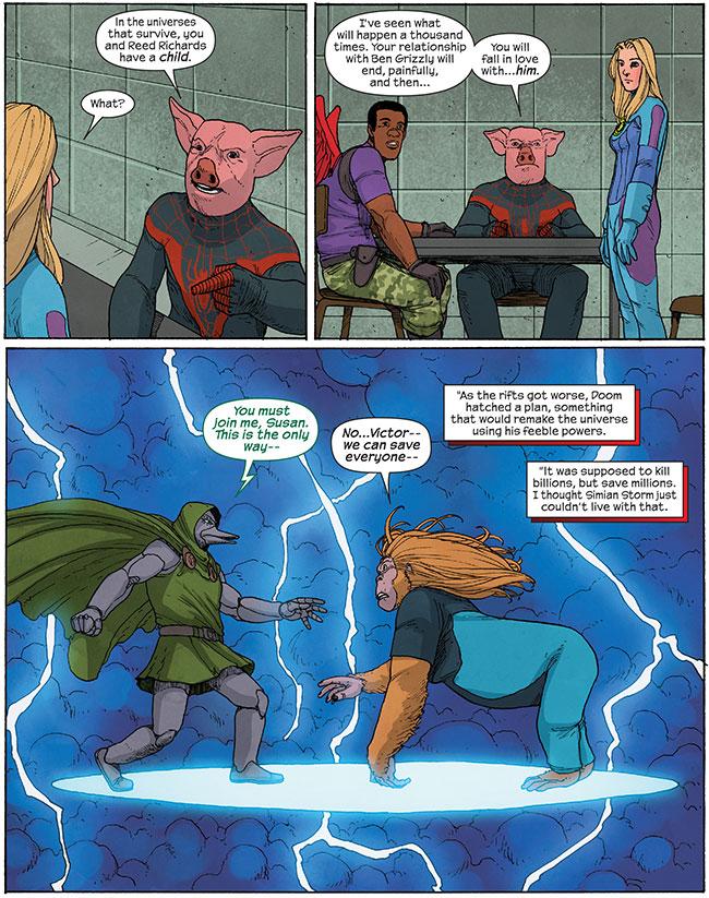 Fantastic Four Ducktor Doom (Doctor Doom) Simian Storm (Susan Storm)  Ultimate Spider-Ham (Miles Morhames) Ultimate FF 5