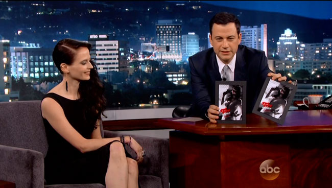 Jimmel Kimmel asks Eva Green about censorsed Sin City poster  Sin City A Dame to Kill For poster censored (Eva Green as Ava Lord)