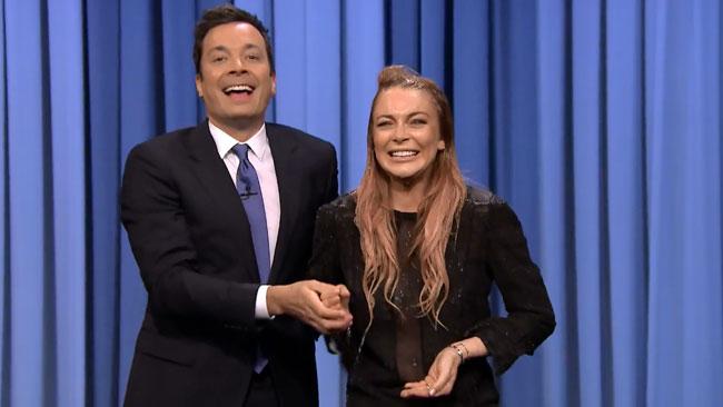Lindsay Lohan wet for Jimmy Fallon ALS Ice Bucket Challenge.jpg