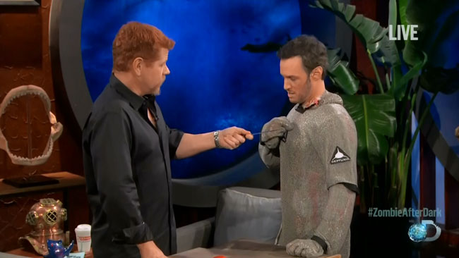 Shark Week Walking Dead (Michael Cudlitz stabs Josh Wolf chain mail)