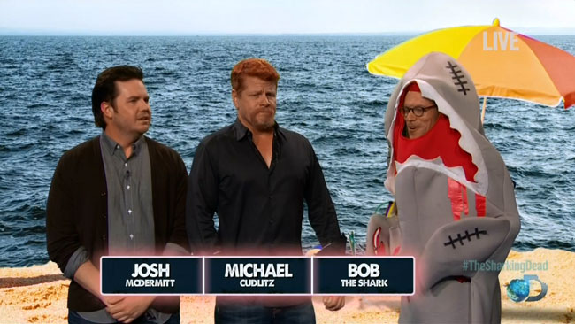 Shark Week Walking Dead star kills zombie shark (Josh McDermitt and Michael Cudlitz)