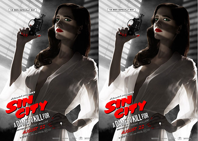 censorsed Sin City poster  Sin City A Dame to Kill For poster censored (Eva Green as Ava Lord)