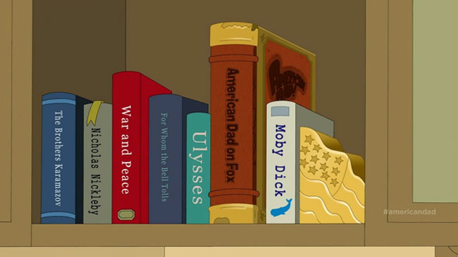 American Dad Blagsnarst A Love Story finale bookshelf
