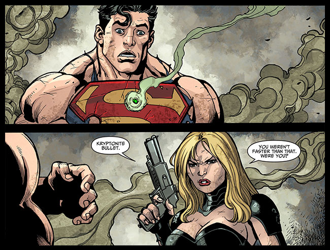 Black Canary shoots Superman Kryptonite bullet Injustice Gods Among Us Year Two 22