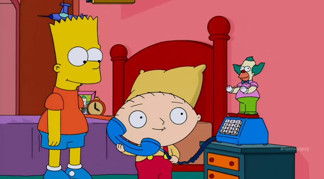 Family Guy rape joke crossover Simpsons Guy Bart Stewie Moe prank call