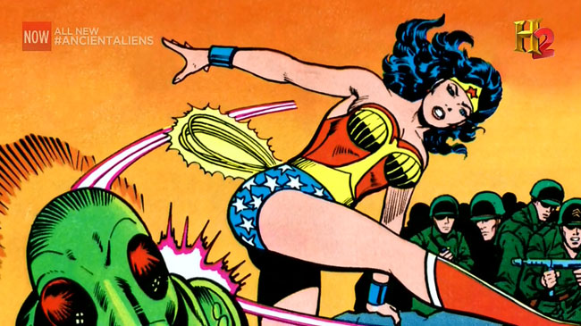 H2 Ancient Aliens claims superheroes inspired by aliens Wonder Woman Amazon