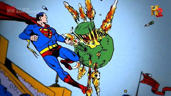 H2 Ancient Aliens claims superheroes inspired by aliens Superman Krypton explodes