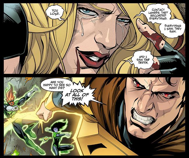 Injustice Gods Among Us Year Two 23 Black Canary contact lenses Yellow Lantern Superman kills