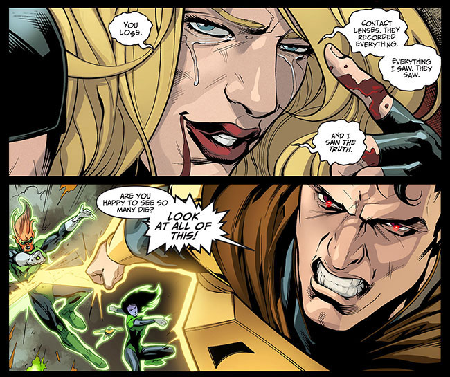Injustice Gods Among Us Year Two 23 Black Canary contact lenses Yellow Lantern Superman kills
