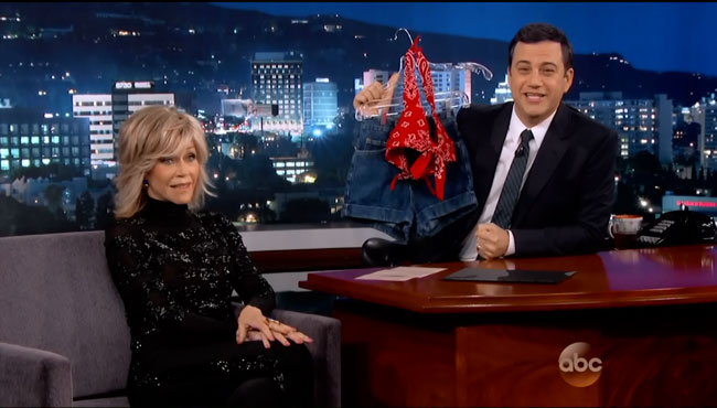 Jane Fonda breasts fake star reveals to Jimmy Kimmel On Golden Pond