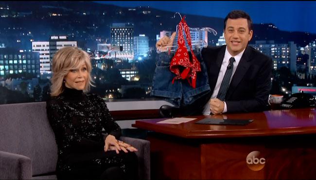 Jane Fonda breasts fake star reveals to Jimmy Kimmel On Golden Pond