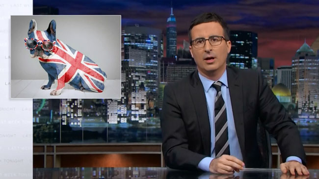 John Oliver big romantic gesture Scotland to stay in UK Union Jack flag