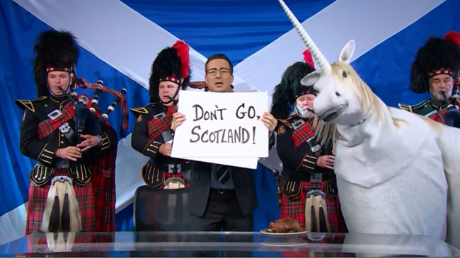 John Oliver makes big romantic gesture for Scotland to stay in UK