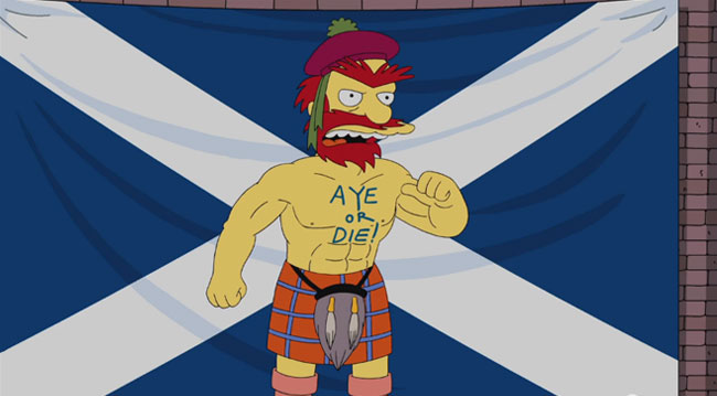 Simpsons Groundskeeper Willie votes Aye for Scottish Independence