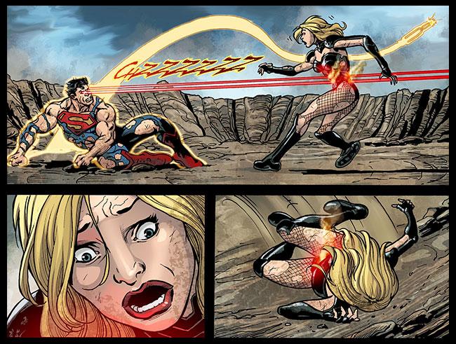 Yellow Lantern Superman kills Black Canary baby heat vision Injustice Gods Among Us Year Two 22