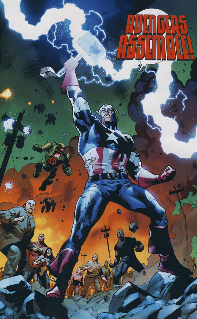 Captain America lifts Thor Hammer Mjolnir Fear Itself #7