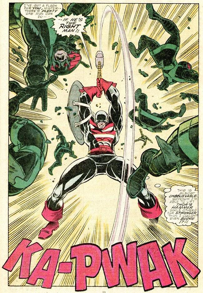 Captain America lifts Thor Hammer Mjolnir Thor #390