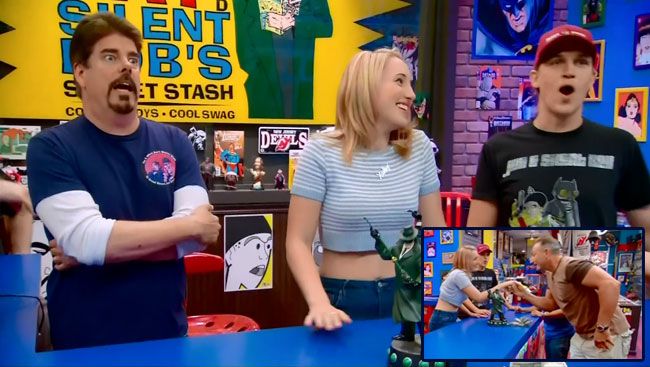 Harley Quinn Smith guest stars on Comic Book Men kiss