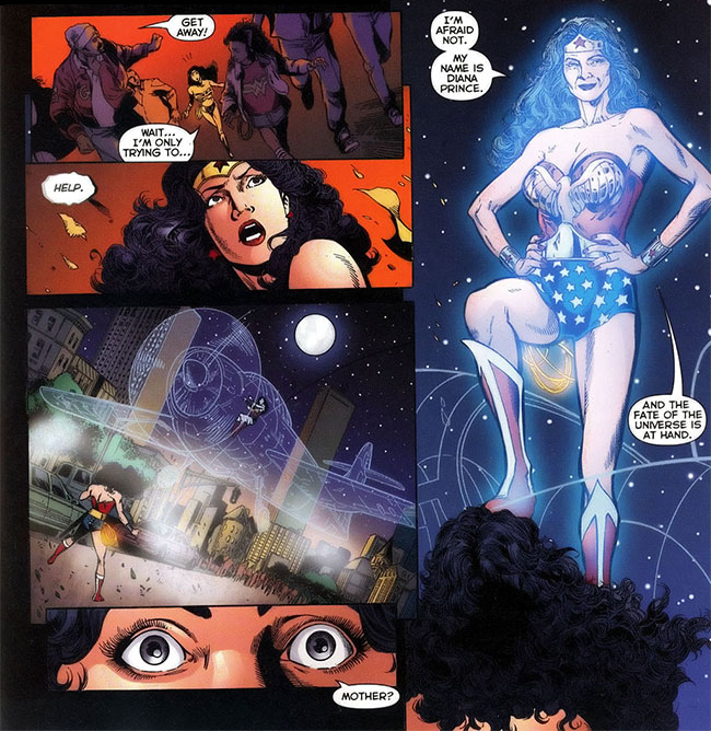 Infinite Crisis 5 Earth 1 old Wonder Woman Earth 2