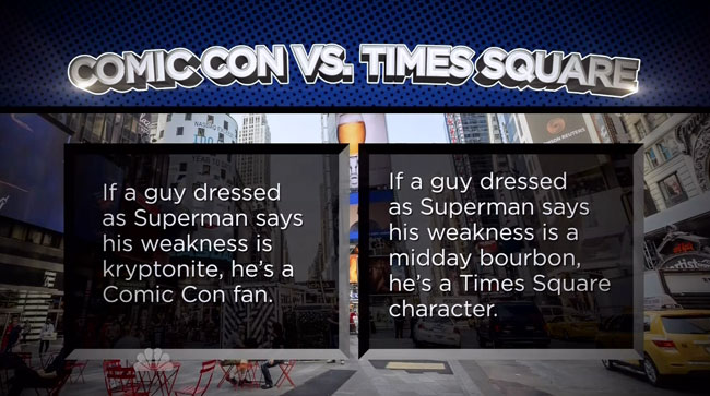 Jimmy Fallon explains how to indentify Comic Con cosplayers Superman