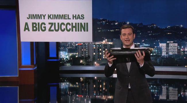 Jimmy Kimmel has a big zucchini penis jokes