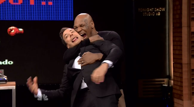Mike Tyson plays Punch Out on Jimmy Fallon bite ear