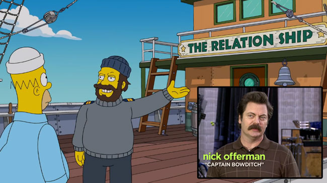 Simpsons guest star Nick Offerman plays sea captain The Wreck of the Relationship