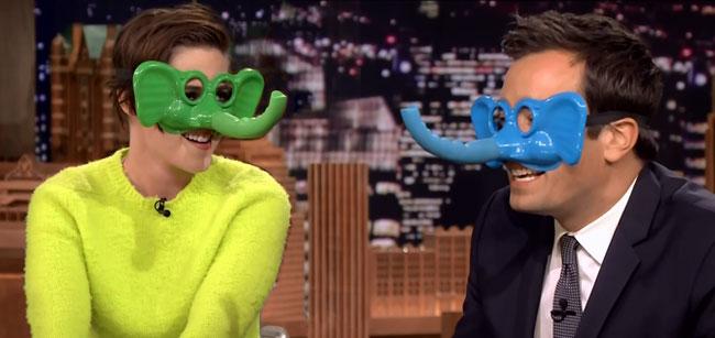 Tonight Show host Jimmy Fallon runs rings around Kristen Stewart