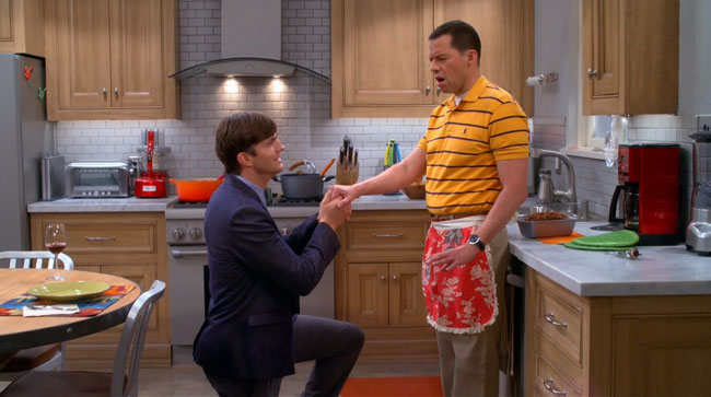 Two and a Half Men gay marriage Walden proposes to Alan Ashton Kutcher Jon Cryer