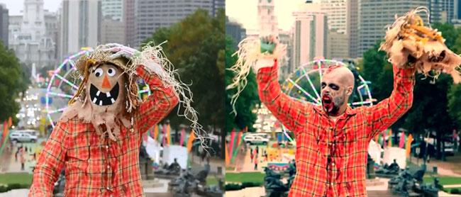 Zombie scarecrow needs brains in selfie prank