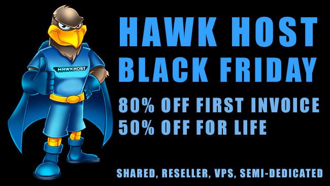 Hawk Host Black Friday coupon web hosting sale