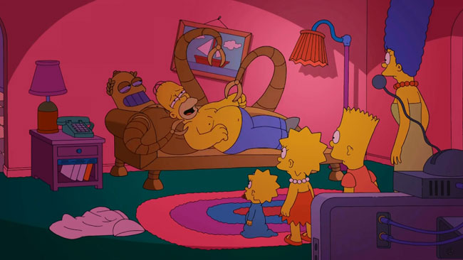 Simpsons Futurama crossover couch gag features Hedonismbot Simpsorama