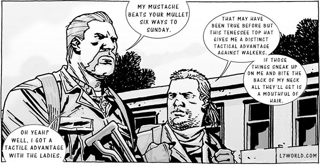The Walking Dead comic book Abraham mustache Eugene mullet