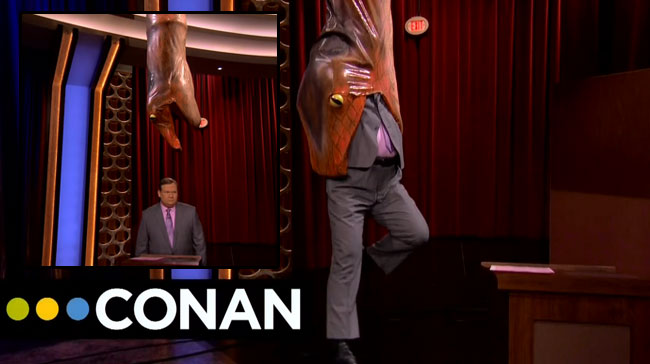 Andy Richter eaten alive by snake on Conan